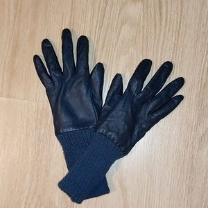 Gap Navy Blue Leather Lined Gloves